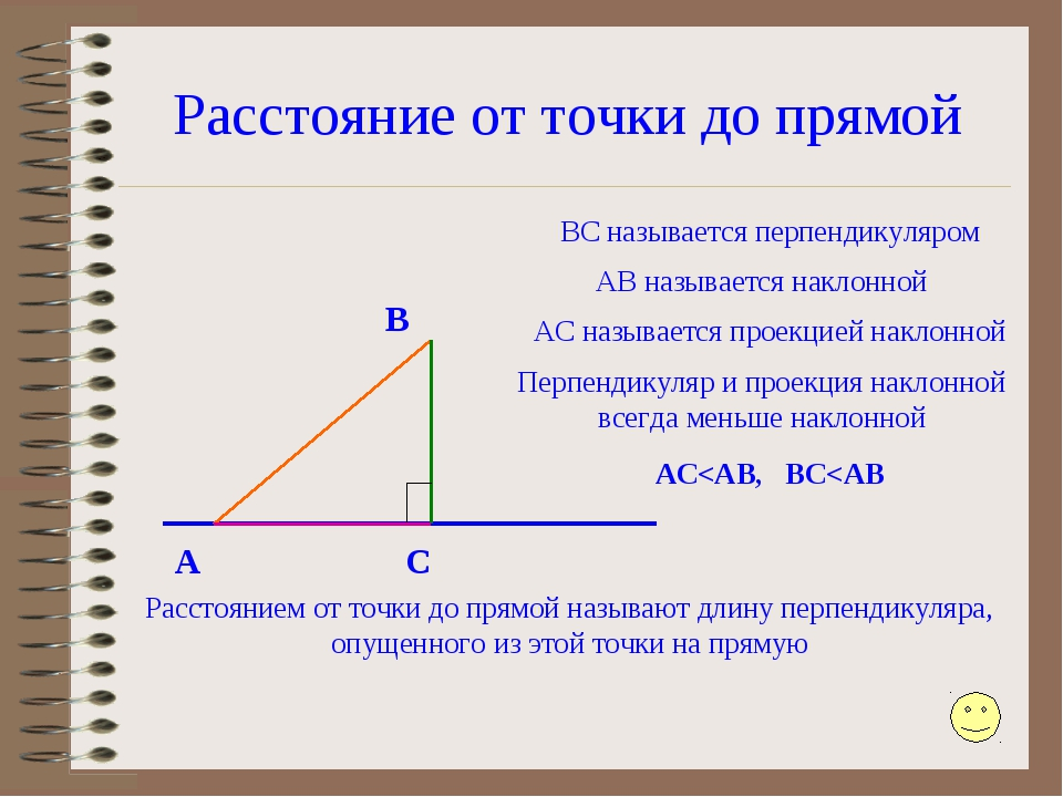 Расстояние от точки до прямой A B C ВС называется перпендикуляром АВ называет...