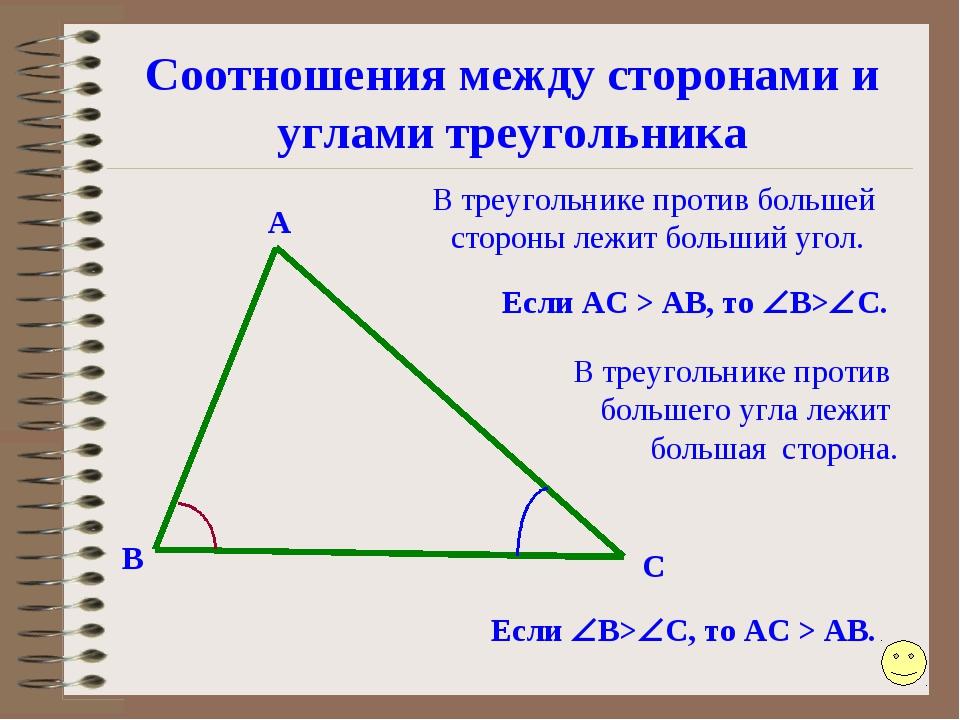 Соотношения между сторонами и углами треугольника А В С Если B>C, то АС > А...