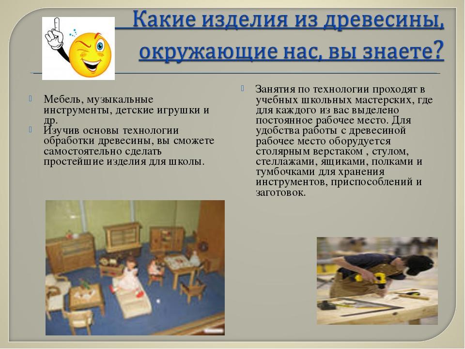 Мебель, музыкальные инструменты, детские игрушки и др. Изучив основы технолог...