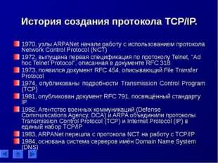 История создания протокола TCP/IP. 1970, узлы ARPANet начали работу с использ