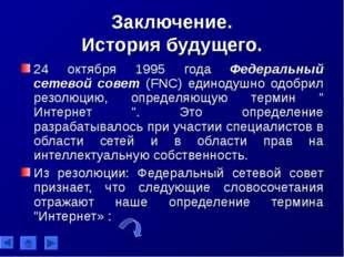 Заключение. История будущего. 24 октября 1995 года Федеральный сетевой совет
