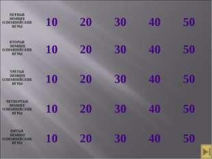 ПЕРВЫЕ ЗИМНИЕ ОЛИМПИЙСКИЕ ИГРЫ 10 20 30 40 50 ВТОРЫЕ ЗИМНИЕ ОЛИМПИЙСКИЕ
