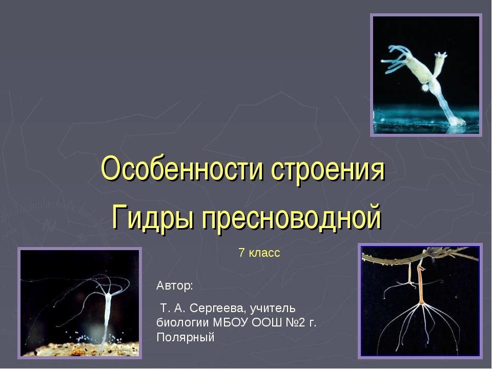 Особенности строения Гидры пресноводной Автор: Т. А. Сергеева, учитель биолог...