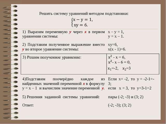 Решить систему уравнений методом подстановки: Ответ: (-2; -3); (3; 2) 1) Выр...