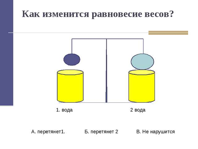 Как изменится равновесие весов? 1. вода 2 вода А. перетянет1. Б. перетянет 2...