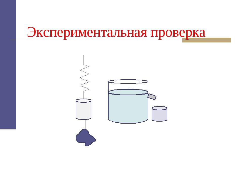 Экспериментальная проверка