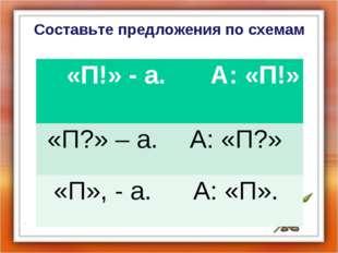 Составьте предложения по схемам «П!» - а. А: «П!» «П?» – а.А: «П?» «П», - а