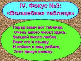 IV. Фокус №3: «Волшебная таблица» Перед вами вот таблица, Очень много чисел з