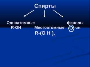 Спирты Одноатомные фенолы R-OH Многоатомные -OH R-(O H )n