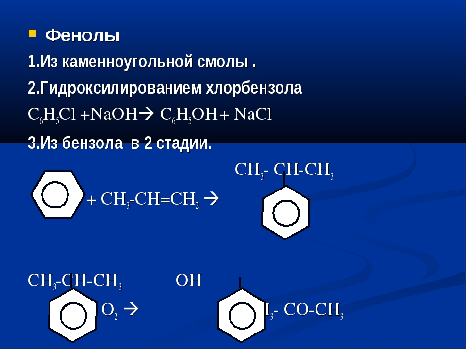 Фенолы 1.Из каменноугольной смолы . 2.Гидроксилированием хлорбензола С6Н5Cl +...