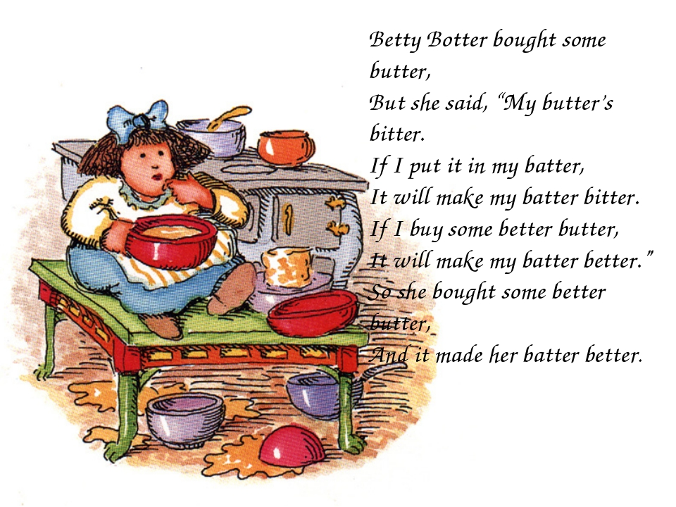 "Betty Botter bought some butter, But she said, ""My butter's bitter. If I put..."