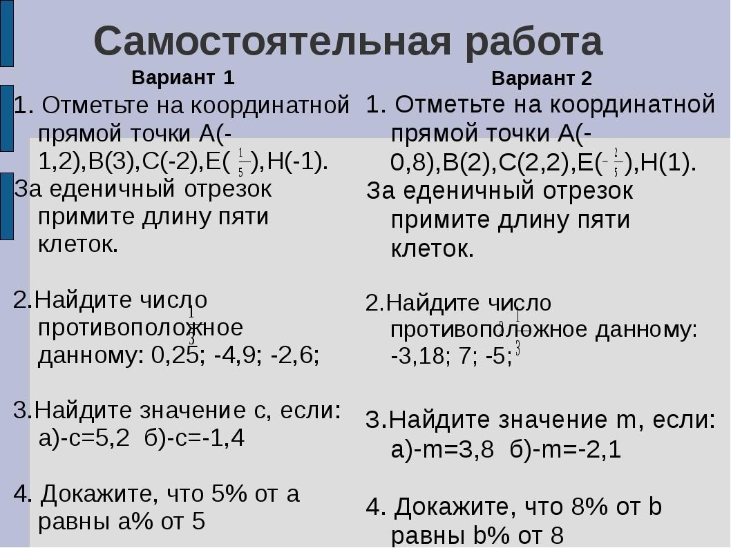 Самостоятельная работа Вариант 1 1. Отметьте на координатной прямой точки А(-...