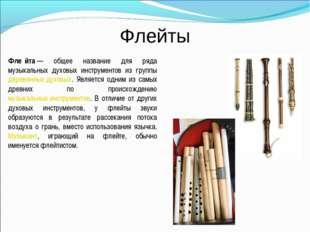 Флейты Фле́йта— общее название для ряда музыкальных духовых инструментов из
