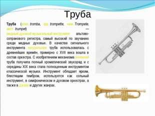 Труба Труба́ (итал.tromba, фр.trompette, нем.Trompete, англ.trumpet) — ме