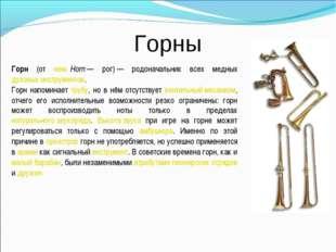 Горны Горн (от нем.Horn— рог)— родоначальник всех медных духовых инструмен
