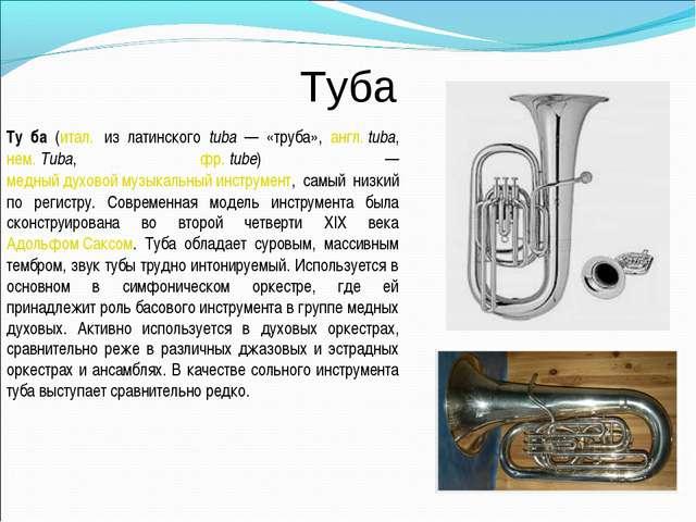 Туба Ту́ба (итал. из латинского tuba — «труба», англ.tuba, нем.Tuba, фр.t...
