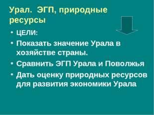 Урал. ЭГП, природные ресурсы ЦЕЛИ: Показать значение Урала в хозяйстве страны