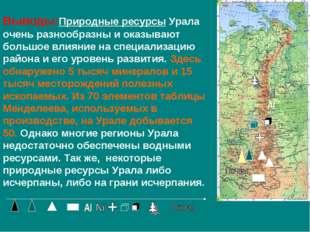 Выводы:Природные ресурсы Урала очень разнообразны и оказывают большое влияние