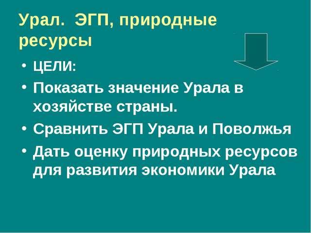 Урал. ЭГП, природные ресурсы ЦЕЛИ: Показать значение Урала в хозяйстве страны...