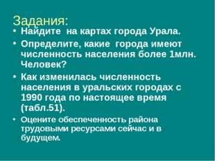 Задания: Найдите на картах города Урала. Определите, какие города имеют числе