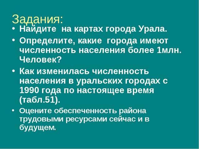 Задания: Найдите на картах города Урала. Определите, какие города имеют числе...