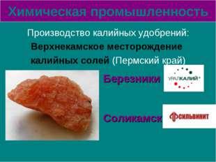 Химическая промышленность Производство калийных удобрений: Верхнекамское мест