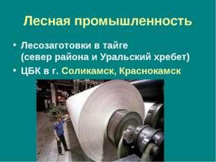Лесная промышленность Лесозаготовки в тайге (север района и Уральский хребет)