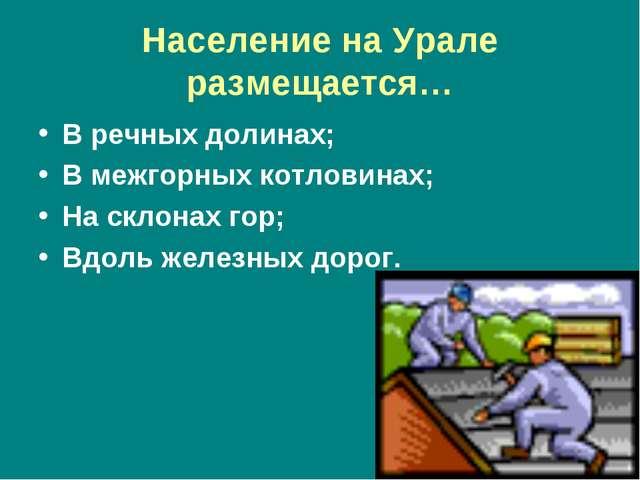 Население на Урале размещается… В речных долинах; В межгорных котловинах; На...