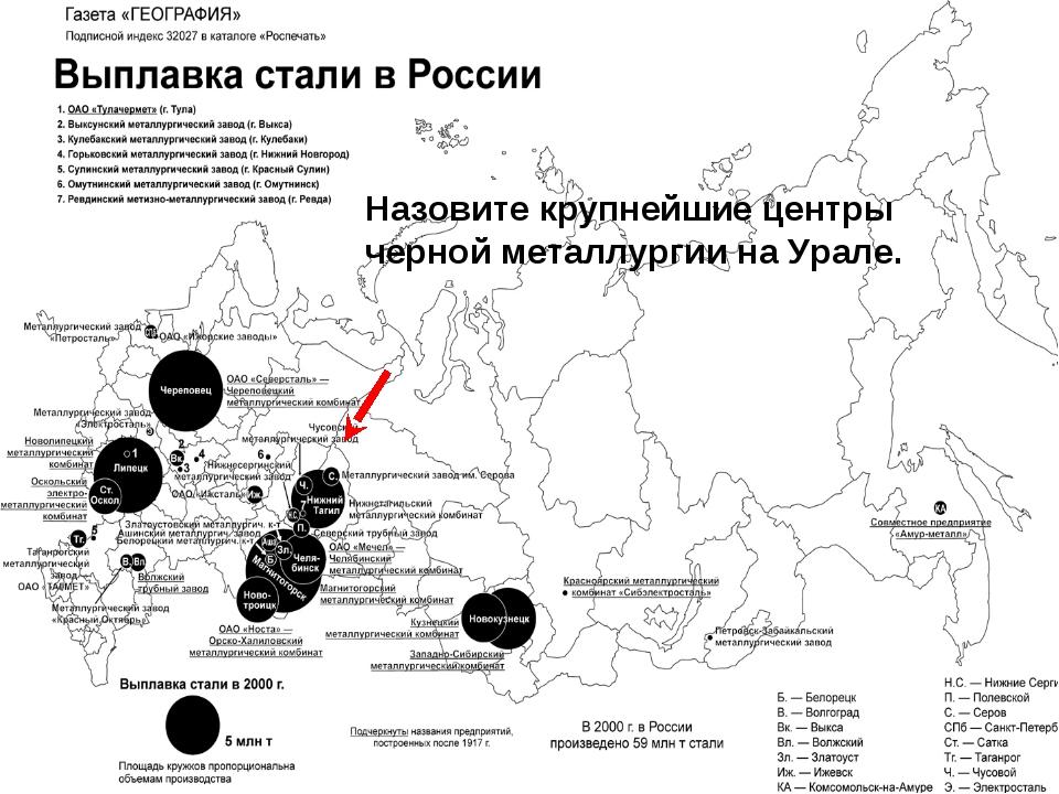 Назовите крупнейшие центры черной металлургии на Урале.