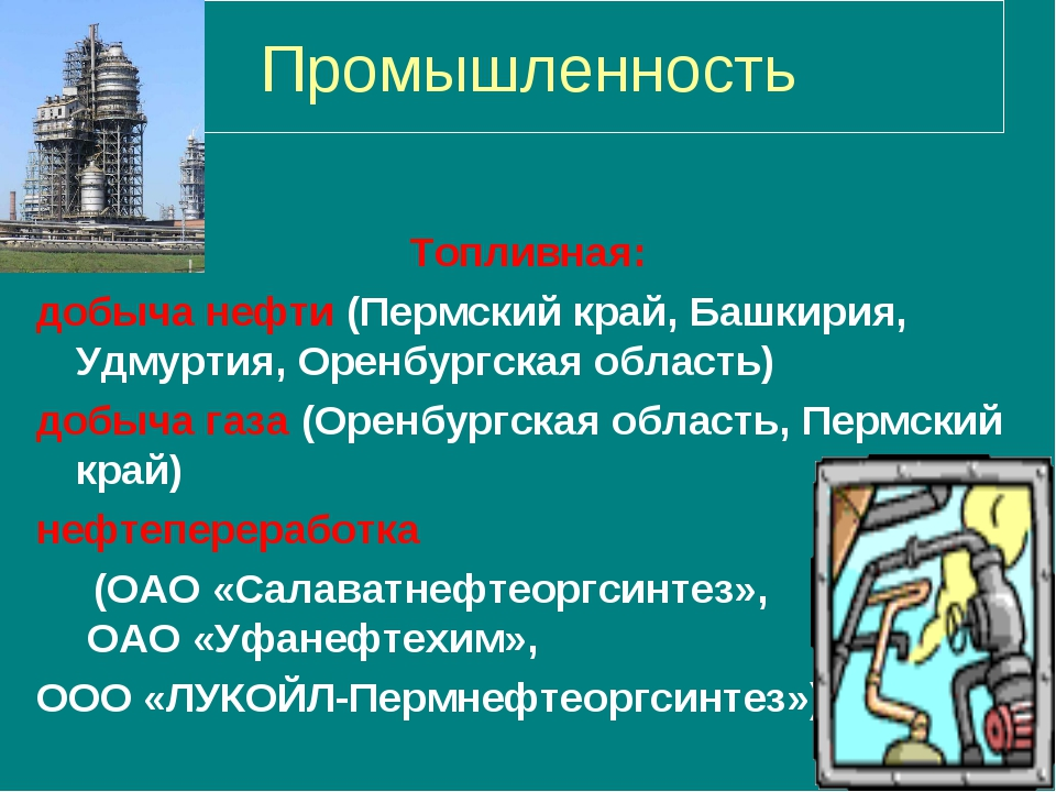 Промышленность Топливная: добыча нефти (Пермский край, Башкирия, Удмуртия, Ор...