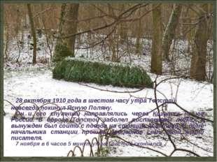 28 октября 1910 года в шестом часу утра Толстой навсегда покинул Ясную Поляну