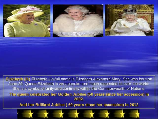 Elizabeth (II.) Elizabeth II's full name is Elizabeth Alexandra Mary. She was...