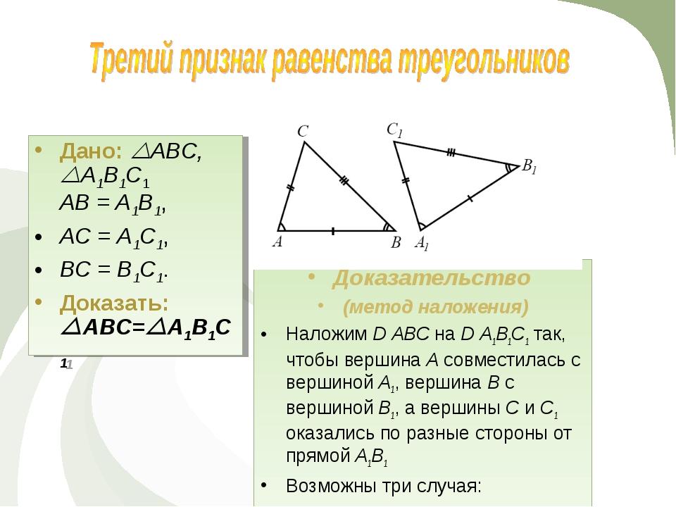Доказательство (метод наложения) Наложим D АВС на D А1В1С1 так, чтобы вершина...