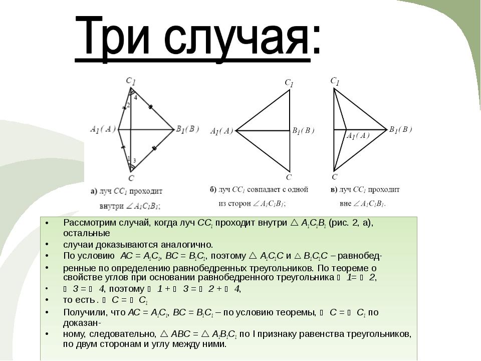 Рассмотрим случай, когда луч СС1 проходит внутри  А1С1В1 (рис. 2, а), осталь...