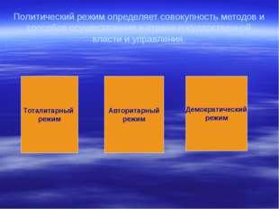 Политический режим определяет совокупность методов и способов осуществления в