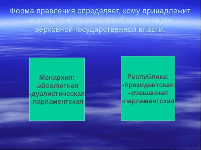 Форма правления определяет, кому принадлежит власть, то есть это способ орган...