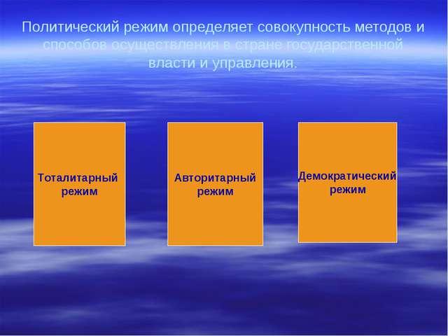 Политический режим определяет совокупность методов и способов осуществления в...