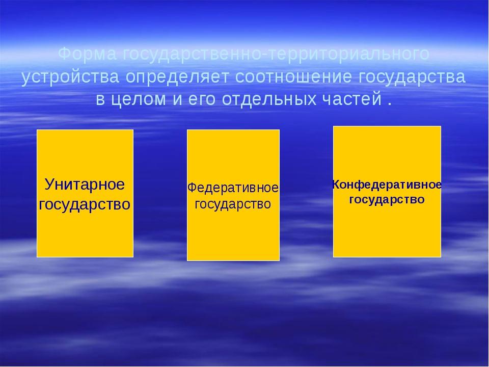 Форма государственно-территориального устройства определяет соотношение госуд...