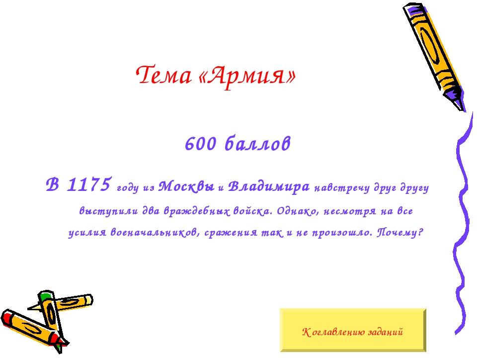 Тема «Армия» 600 баллов В 1175 году из Москвы и Владимира навстречу друг друг...