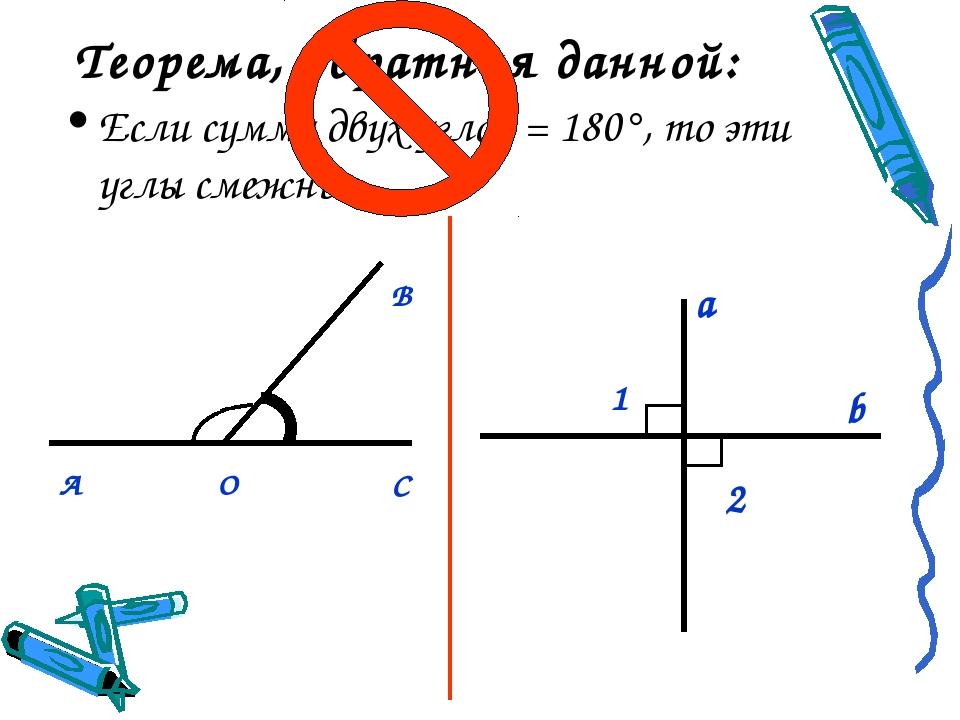 Теорема, обратная данной: Если сумма двух углов = 180°, то эти углы смежные....