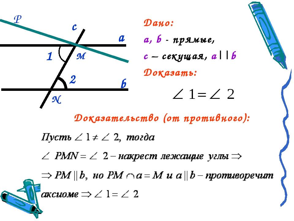 Дано: а, b - прямые, c – секущая, а||b Доказать: а b 1 2 c М Р Доказательство...