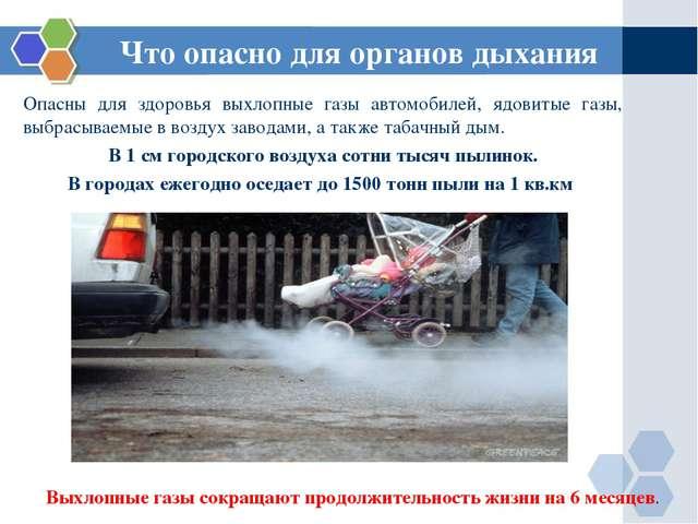 Что опасно для органов дыхания Опасны для здоровья выхлопные газы автомобилей...