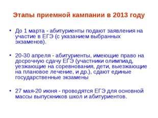 Этапы приемной кампании в 2013 году До 1 марта - абитуриенты подают заявления