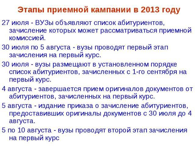 Этапы приемной кампании в 2013 году 27 июля - ВУЗы объявляют список абитуриен...