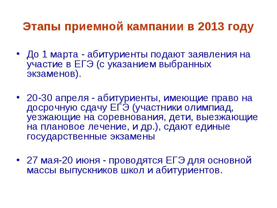 Этапы приемной кампании в 2013 году До 1 марта - абитуриенты подают заявления...