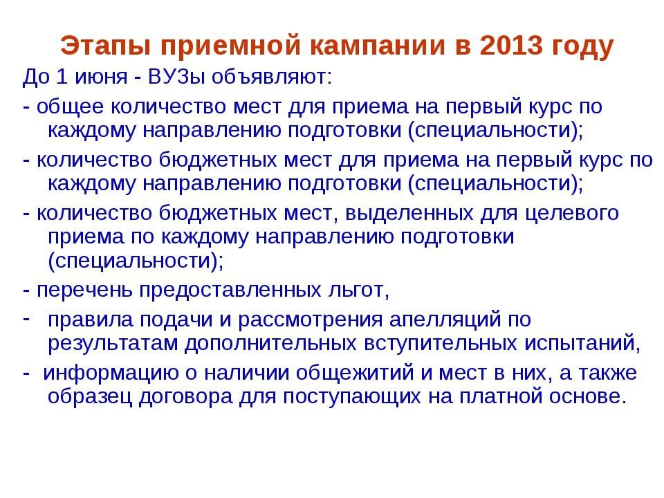 Этапы приемной кампании в 2013 году До 1 июня - ВУЗы объявляют: - общее колич...