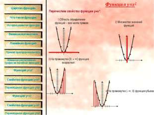 Перечислим свойства функции y=x2: Функция y=x2 1)Область определении функций