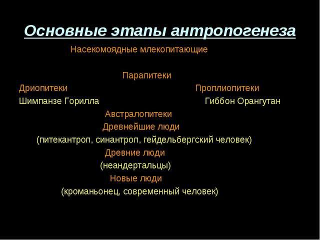 Основные этапы антропогенеза Насекомоядные млекопитающие Парапитеки Дриопитек...