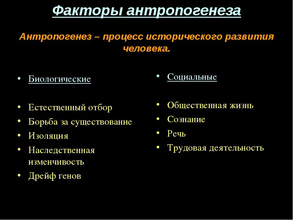 Факторы антропогенеза Антропогенез – процесс исторического развития человека....