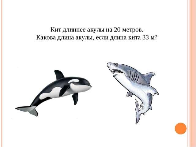 Кит длиннее акулы на 20 метров. Какова длина акулы, если длина кита 33 м?